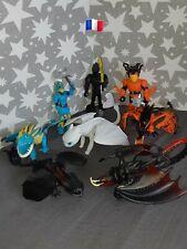 3 Personnages + 5 Figurines Dragons Krokmou Tempête Krochefer..