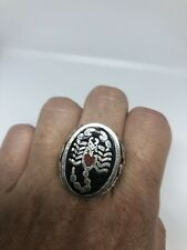 Vintage Scorpion Men's Ring Silver White Bronze Stone Inlay Size 6.75