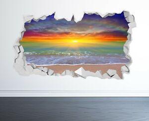 BEACH SUNSET WALL STICKER 3D LOOK - OCEAN SEA BEACH BEDROOM LOUNGE Z1026