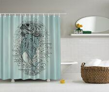 Giant Fish Digital Print Shower Curtain Nautical Under Sea Decor Graphic Curtain
