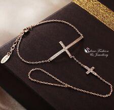 18K Rose Gold Filled Diamond Cross Finger Ring Hand Chain Harness Bracelet
