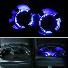 Solar Cup Holder Bottom Pad LED Light Cover Trim Atmosphere Lamp Universal Car