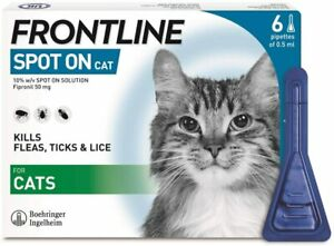 FRONTLINE Spot On Flea & Tick Treatment for Cats - 1,2,3 or 6 Pipettes - NEW