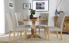 Cavendish Round Oak Dining Table and 4 Fabric Chairs Set (Hatfield Oatmeal)