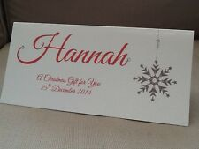 1 x Handmade Personalised Christmas Money Gift Voucher Wallet Card Snowflake