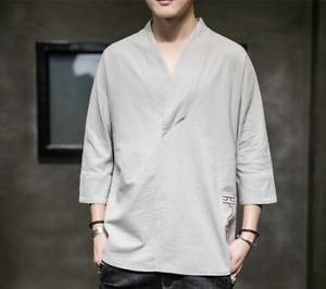 Men's Fashion Summer V Neck 3/4 Sleeve Loose T-shirt Casual Cotton Linen Tee DPM