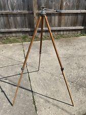 Vintage Antique Wooden Tripod Camera Base Surveyor Extendable With Tilt 53�-29�