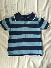 Boys Children's Place Blue Striped Collared Sweater Short Sleeve Size 4T