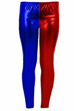 GIRLS HARLEY QUINN METALLIC LEGGINGS RED BLUE SUICIDE SQUAD HALLOWEEN COSTUME