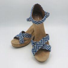 Toms Wedge Sandals Cork Heel Sz 9W Blue /White Open Toe