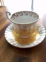 Vintage Royal Albert Bone China England Yellow Gold Teacup Saucer Set, Nice!