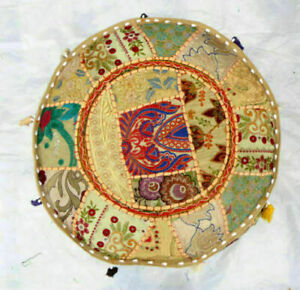 Indian Vintage Embroidered Footstool Patchwork Ottoman Round Pouf Pouffe