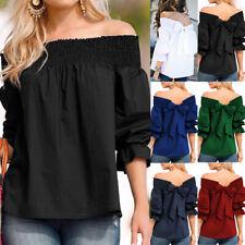 UK Womens Off Shoulder Bows Tops Ladies Casual Loose Bardot T Shirt Blouse 10-24
