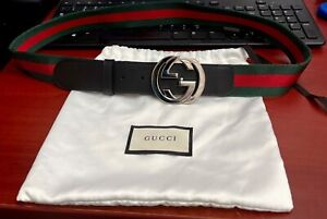 GUCCI Green / Red Web belt with G buckle 100% AUTHENTIC 100/40