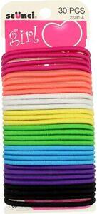 Scunci Hair Elastics 30 Pieces Multi Coloured Pink, Green, Black, Blue, Etc