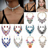 Fashion Women Crystal Necklace Choker Chunky Statement Bib Pendant Chain Jewelry