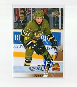 JUSTIN BRAZEAU autographed SIGNED '17/18 Upper Deck CHL card TORONTO MAPLE LEAFS