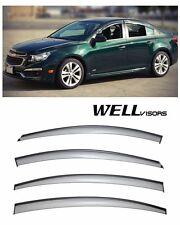 WellVisors Side Window Deflectors with Black Trim For 11-15 Chevrolet Cruz