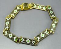 Vintage TOLEDO SPAIN PANEL BRACELET Damascene GOLD BLACK Green Trim STUNNING!