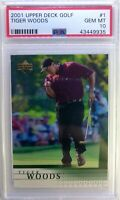 2001 01 Upper Deck UD Golf TIGER WOODS Rookie RC #1, Graded PSA 10 Gem Mint
