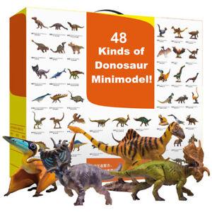 PNSO 48Pcs Small Dinosaur Figure Tyrannosaurus Spinosaurus Triceratops Model Toy