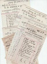 LOT- 6 Antique Advertising Billheads Kramer Candy Confectioner Rochester NY 1890