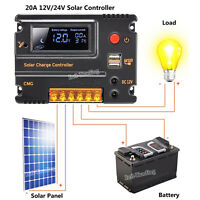 LCD Display 12V/24V 20A Solar Charge Controller Dual USB Output for RV Boat Car