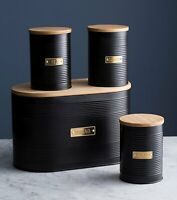 Typhoon Living Otto Black Bread Bin and Tea Coffee Sugar Canister SET  [OT4]