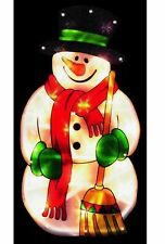 45cm WINDOW SILHOUETTE SNOWMAN BRIGHT LED LIGHT-UP- CHRISTMAS DECORATION