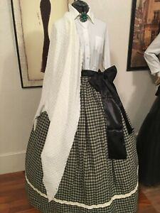 Civil War Victorian Edwardian Pioneer Cotton Skirt Shawl Free Sash Fits Most