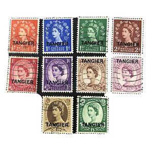 GREAT BRITAIN, TANGIER, SCO # 559-564(6)+566/567(2)+573/574(2),1952-54 QE2 USED