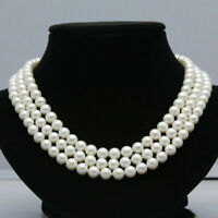 "Triple strands AAA natural south sea 8-9MM white pearl necklace 18"" 14K Clasp"