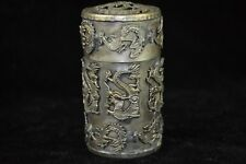Collectible Vintage Tibet Silver carve myth dragon phoenix Old rare Tobacco Box
