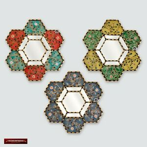 "Peruvian Hexagon Wall Mirror 11.8"" set of 3, Painting on glass mirrors for wall"
