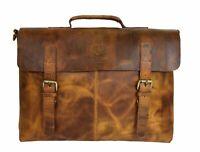 Buffalo Leather Satchel Messenger Bag 15 In Laptop Office College Shoulder Bags