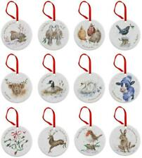 Royal Worcester Wrendale Christmas tree decorations 12 days of Xmas, ceramic set