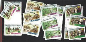 St. Vincent sc#761-4 Single & Gutter x2 (1984) Complete MNH