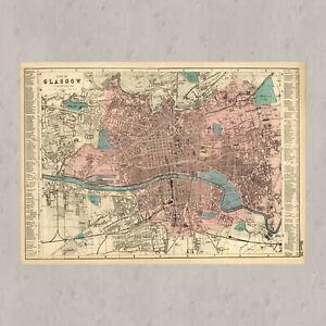Glasgow map 1895, Scotland 1895 map print, poster art room decor vintage