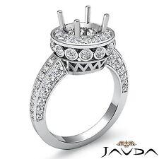 Halo Pave Bezel Set Diamond Engagement Ring Platinum Round Semi Mount 0.7 Carat