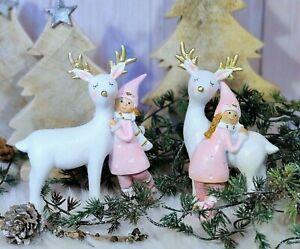 Wichtel Rentier 2 Stück Mädchen rosa weiß Glitzer Weihnachtsschmuck Weihnachten