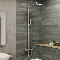 Modern Shower Mixer Thermostatic Exposed Square Bathroom Twin Head Valve Set