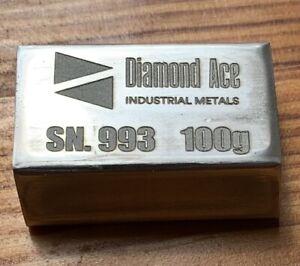 100 Grams .993 Tin Bar - Diamond Ace