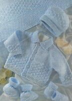 """Baby Jacket, Hat, Blanket, Mittens and Bootees Knitting Pattern DK 16-22"""" 397"""