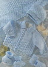 "Baby Jacket, Hat, Blanket, Mittens and Bootees Knitting Pattern DK 16-22"" 397"