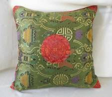 Vintage Silky Satin Brocade Throw Pillow Chinese Embroidered Green Oriental
