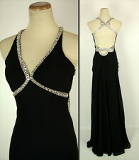 New FAVIANA 6707 Black Halter Full-Length, Evening Cruise Formal Gown Dress 0