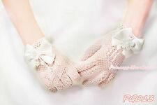 Cream White Pearl Bow Wrist Fish Net Wedding Party Bridal Flower Girl Gloves