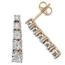 9ct Yellow Gold Graduated 5 Stone 10pt Diamond Illusion Set Drops *ED160