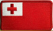 TONGA Flag Embroidery Iron-On Patch Emblem Red  Border