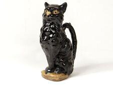 Pichet zoomorphe barbotine Saint-Clément chat noir XXème siècle